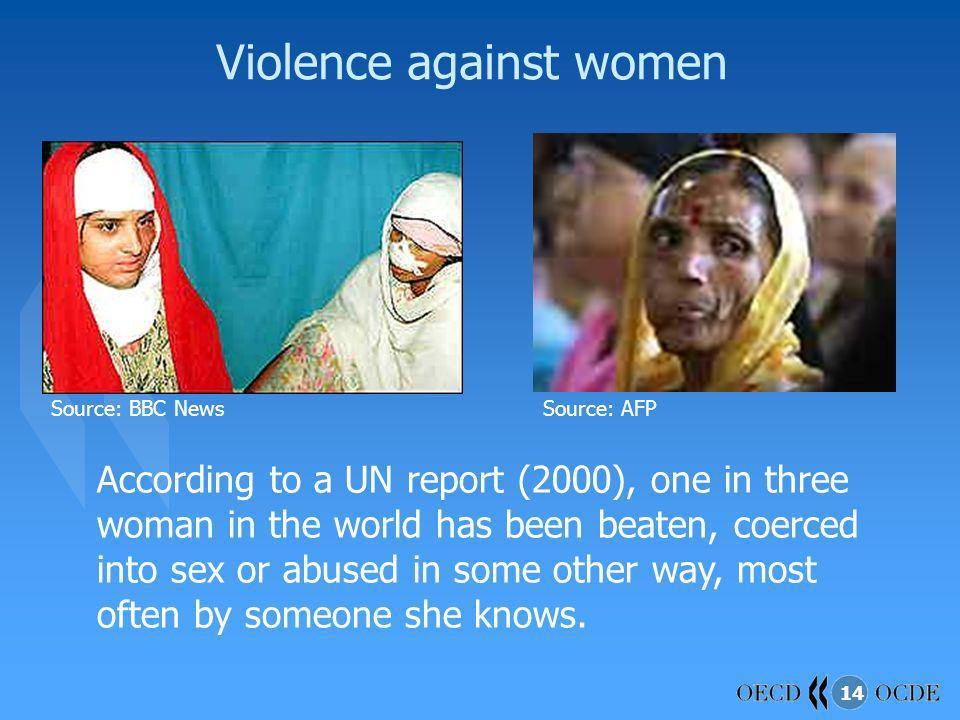 14 Violence against women Source: BBC NewsSource: AFP According to a UN report (2000), one in three woman in the world has been beaten, coerced into s