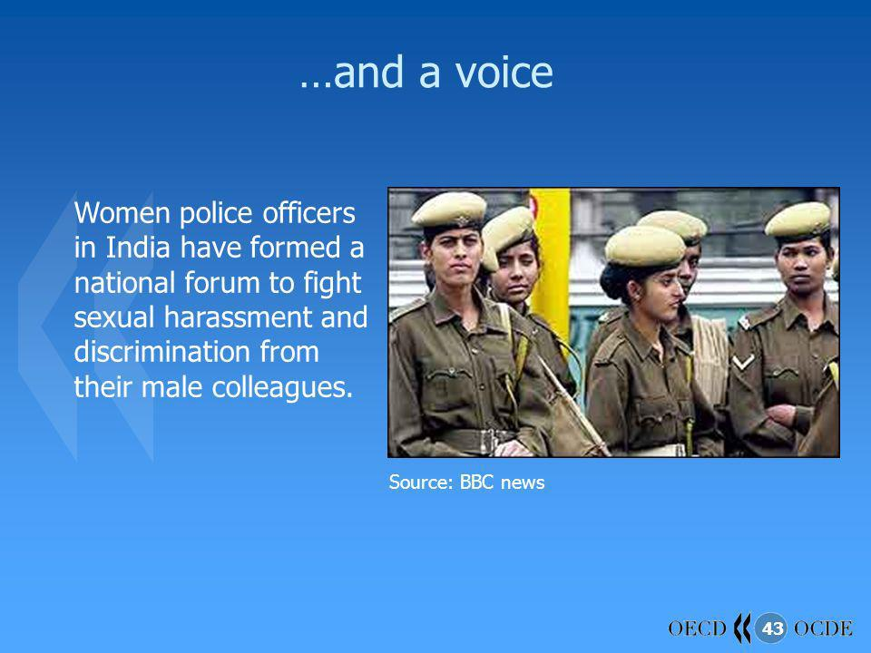 43 …and a voice Women police officers in India have formed a national forum to fight sexual harassment and discrimination from their male colleagues.