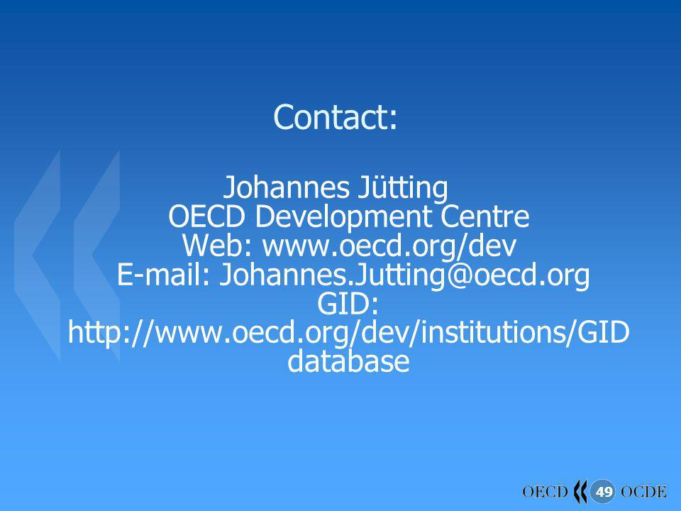 49 Contact: Johannes Jütting OECD Development Centre Web: www.oecd.org/dev E-mail: Johannes.Jutting@oecd.org GID: http://www.oecd.org/dev/institutions/GID database