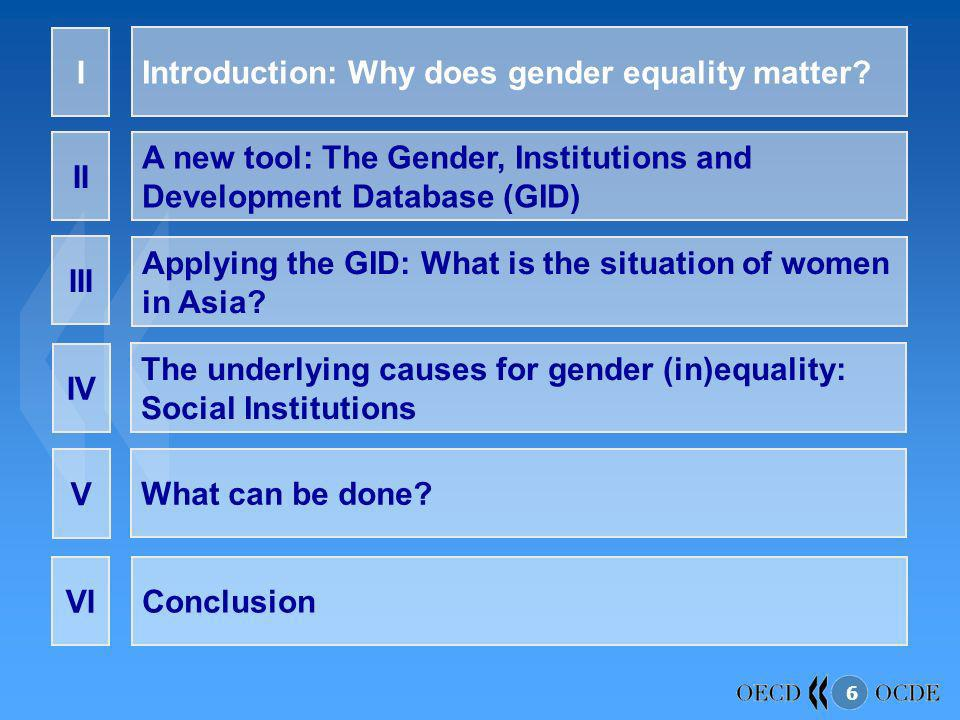 6 Introduction: Why does gender equality matter? I A new tool: The Gender, Institutions and Development Database (GID) II Applying the GID: What is th