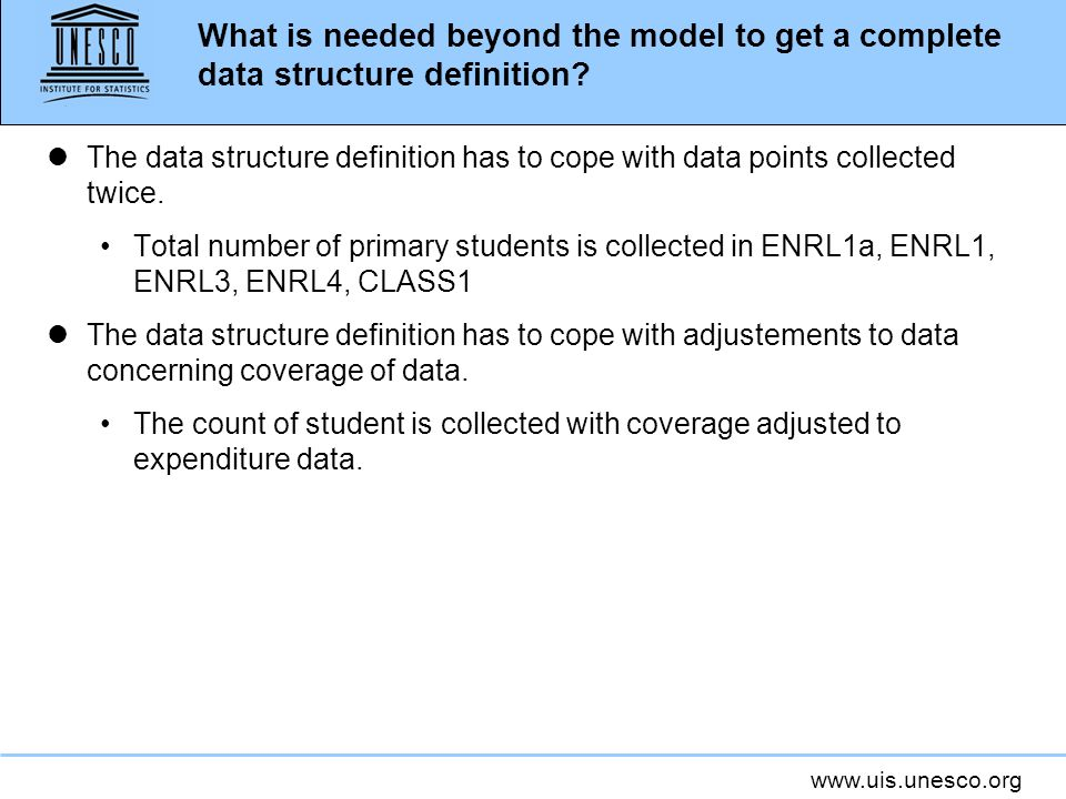 What is needed beyond the model to get a complete data structure definition.