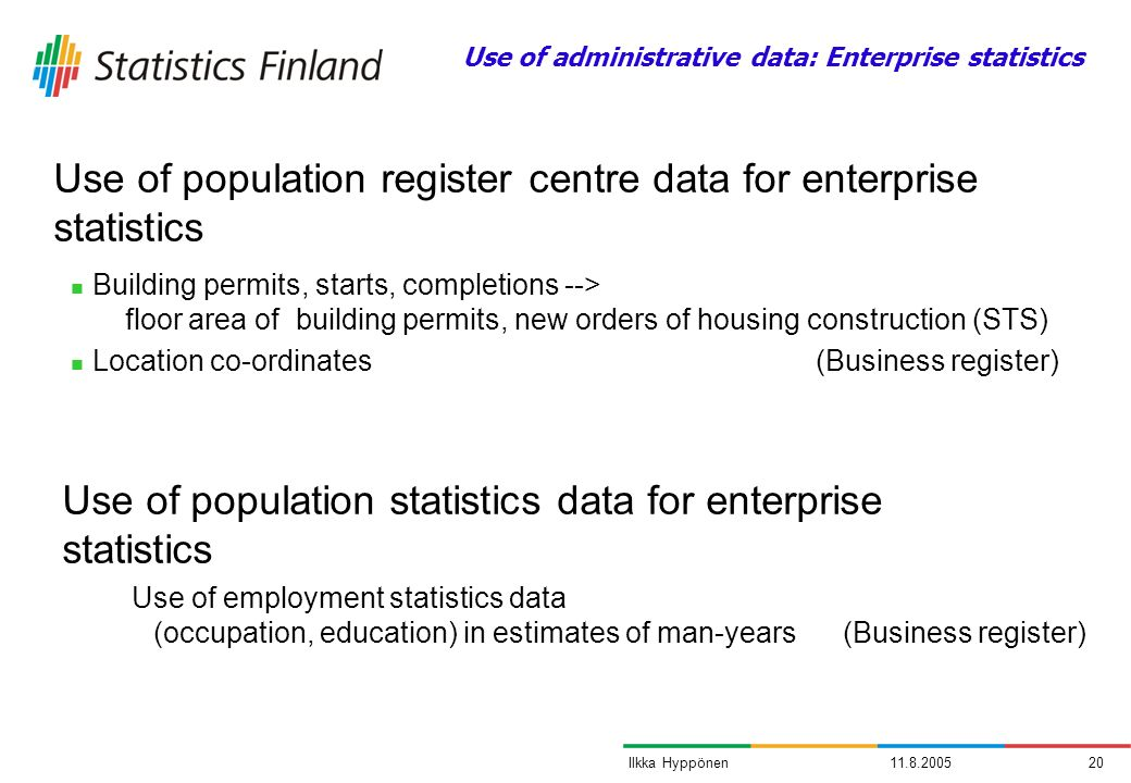 11.8.200520Ilkka Hyppönen Building permits, starts, completions --> floor area of building permits, new orders of housing construction (STS) Location co-ordinates (Business register) Use of population register centre data for enterprise statistics Use of population statistics data for enterprise statistics Use of employment statistics data (occupation, education) in estimates of man-years (Business register) Use of administrative data: Enterprise statistics