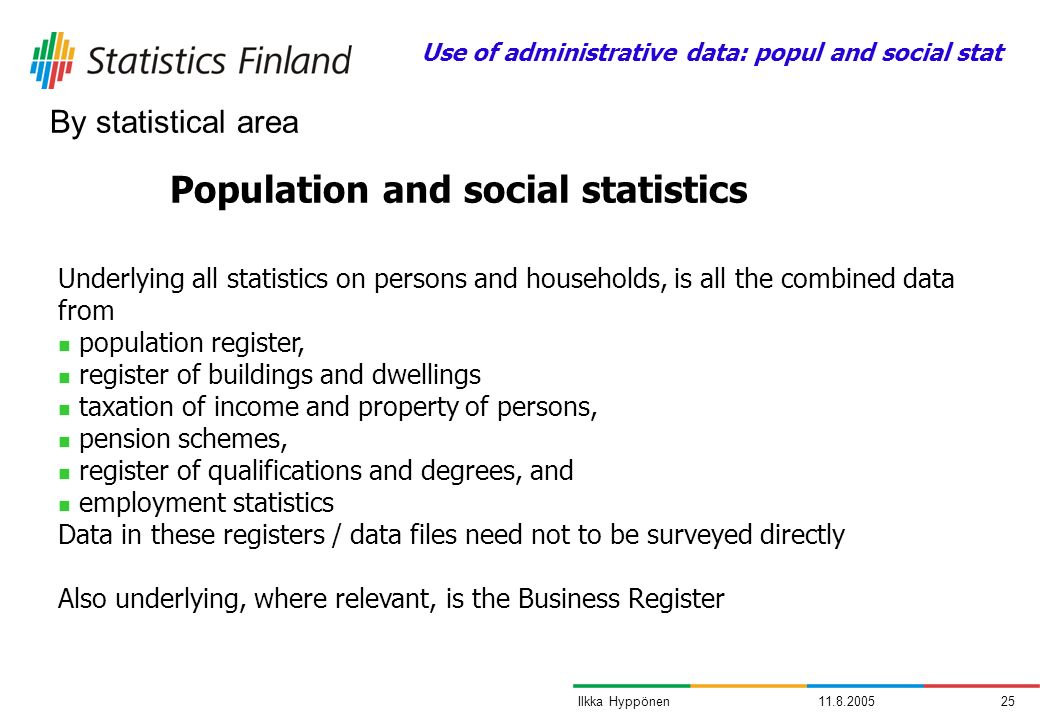 11.8.200525Ilkka Hyppönen Population and social statistics Underlying all statistics on persons and households, is all the combined data from populati