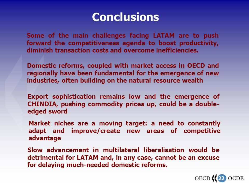 22 Some of the main challenges facing LATAM are to push forward the competitiveness agenda to boost productivity, diminish transaction costs and overc