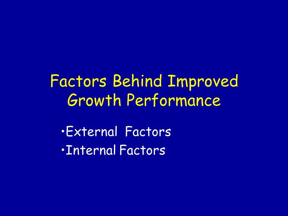 Factors Behind Improved Growth Performance External Factors Internal Factors