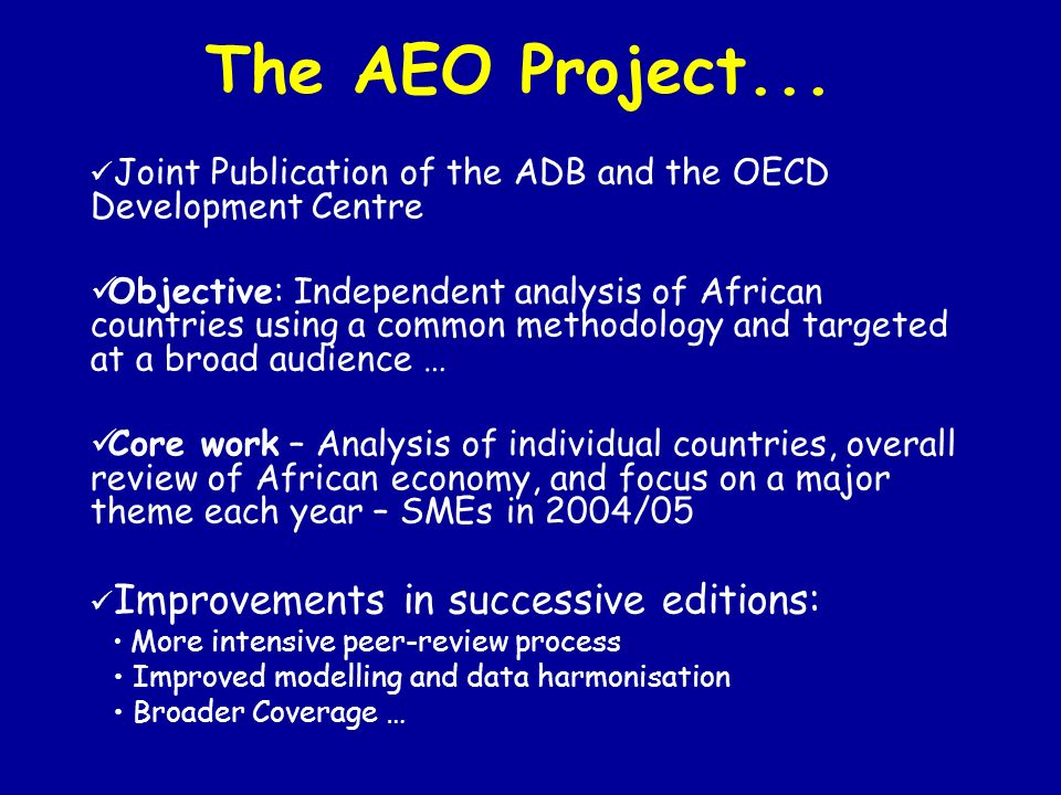 The AEO Project...