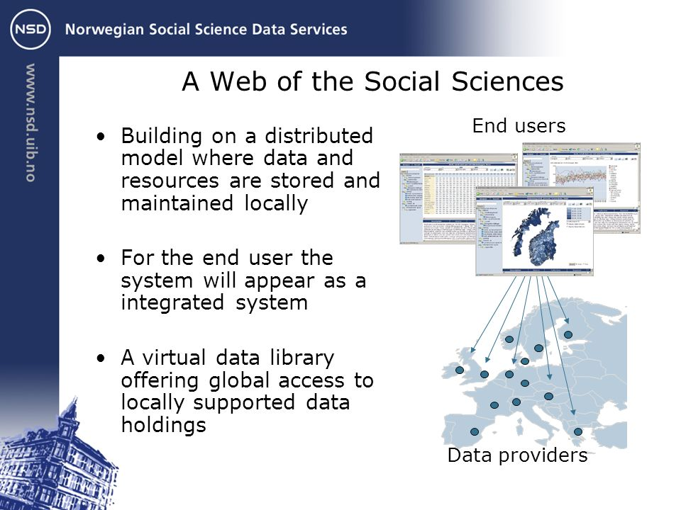 A Web of the Social Sciences Building on a distributed model where data and resources are stored and maintained locally For the end user the system will appear as a integrated system A virtual data library offering global access to locally supported data holdings End users Data providers