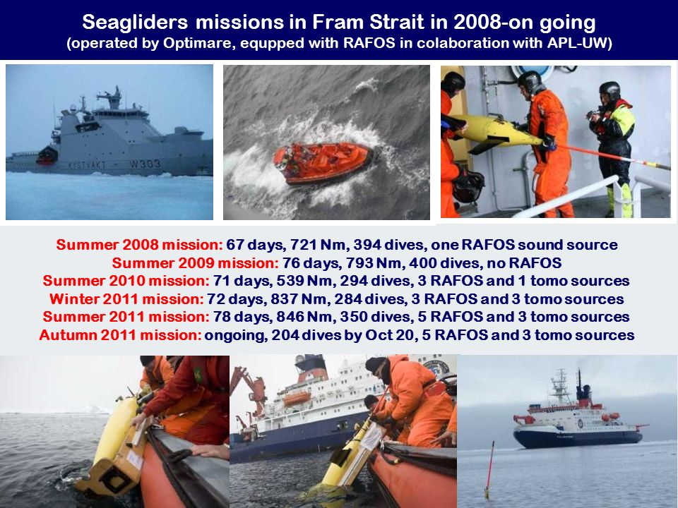 Summer 2008 mission: 67 days, 721 Nm, 394 dives, one RAFOS sound source Summer 2009 mission: 76 days, 793 Nm, 400 dives, no RAFOS Summer 2010 mission: 71 days, 539 Nm, 294 dives, 3 RAFOS and 1 tomo sources Winter 2011 mission: 72 days, 837 Nm, 284 dives, 3 RAFOS and 3 tomo sources Summer 2011 mission: 78 days, 846 Nm, 350 dives, 5 RAFOS and 3 tomo sources Autumn 2011 mission: ongoing, 204 dives by Oct 20, 5 RAFOS and 3 tomo sources Seagliders missions in Fram Strait in 2008-on going (operated by Optimare, equpped with RAFOS in colaboration with APL-UW)