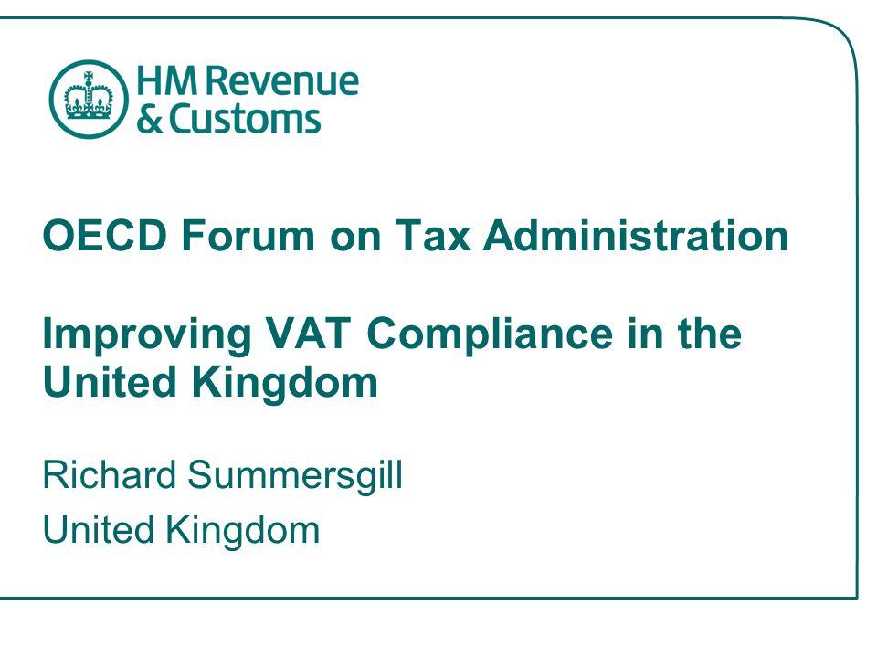 VAT in the UK VAT introduced in UK on 1/4/1973 Standard rate of 17.5% against an EU median of 19.5% Registration threshold £60K 1.8m VAT registered businesses In 2003-04 –£309bn output VAT –£252bn input VAT –£16bn import VAT –£73bn net VAT collected