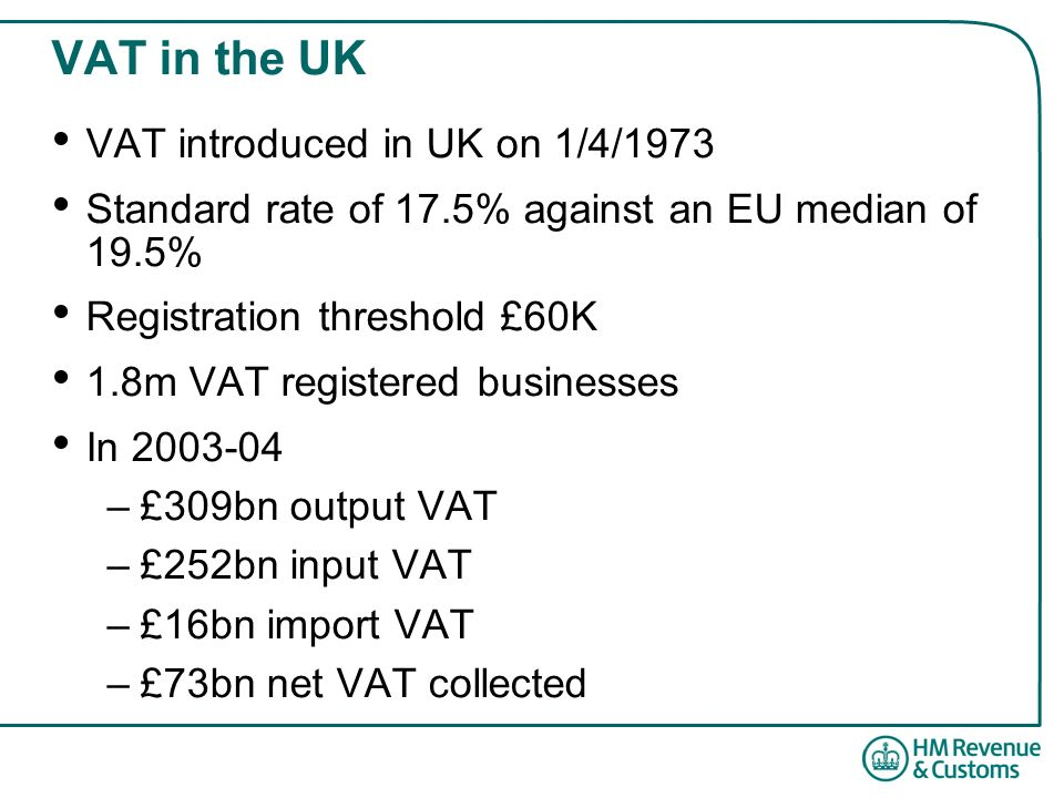 VAT in the UK VAT introduced in UK on 1/4/1973 Standard rate of 17.5% against an EU median of 19.5% Registration threshold £60K 1.8m VAT registered businesses In 2003-04 –£309bn output VAT –£252bn input VAT –£16bn import VAT –£73bn net VAT collected