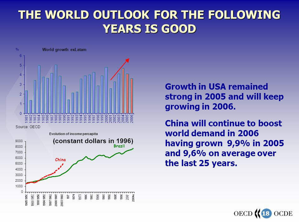 18 THE WORLD OUTLOOK FOR THE FOLLOWING YEARS IS GOOD 0 1 2 3 4 5 6 19811982198319841985198619871988198919901991199219931994199519961997199819992000200120022003200420052006 World growth exLatam % Source: OECD Growth in USA remained strong in 2005 and will keep growing in 2006.