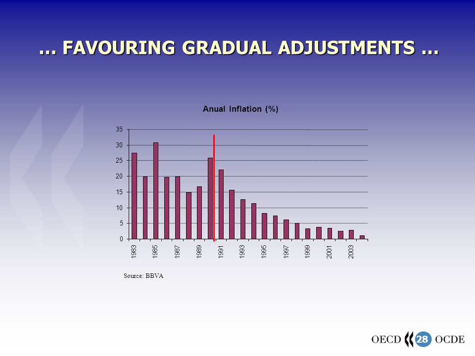 28 … FAVOURING GRADUAL ADJUSTMENTS … Anual Inflation (%) 0 5 10 15 20 25 30 35 19831985198719891991199319951997199920012003 Source: BBVA