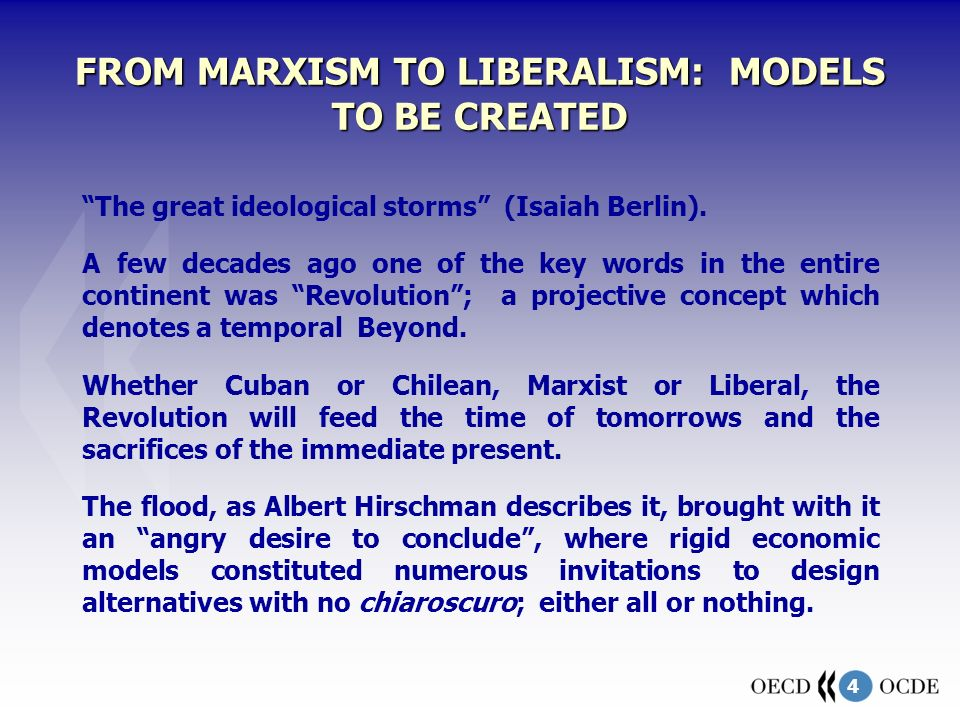 4 FROM MARXISM TO LIBERALISM: MODELS TO BE CREATED The great ideological storms (Isaiah Berlin). A few decades ago one of the key words in the entire