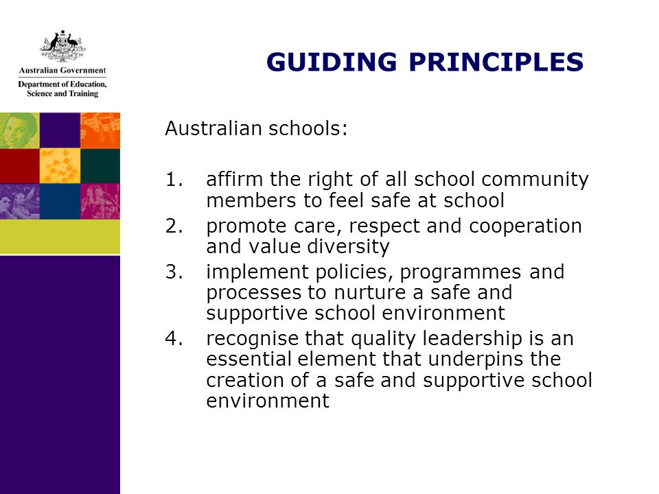GUIDING PRINCIPLES Australian schools: 1.affirm the right of all school community members to feel safe at school 2.promote care, respect and cooperati