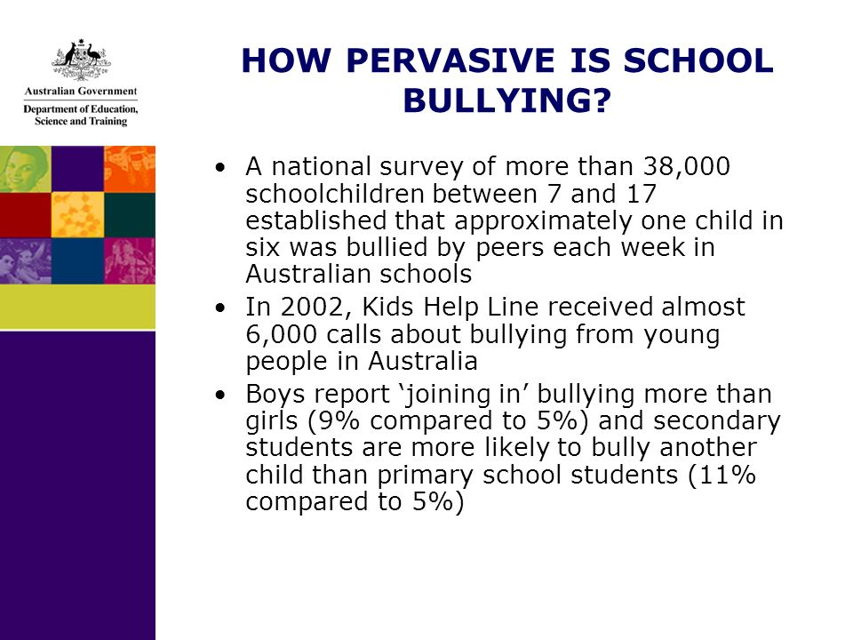 HOW PERVASIVE IS SCHOOL BULLYING? A national survey of more than 38,000 schoolchildren between 7 and 17 established that approximately one child in si