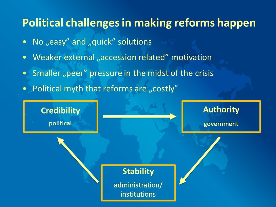 Political challenges in making reforms happen No easy and quick solutions Weaker external accession related motivation Smaller peer pressure in the mi