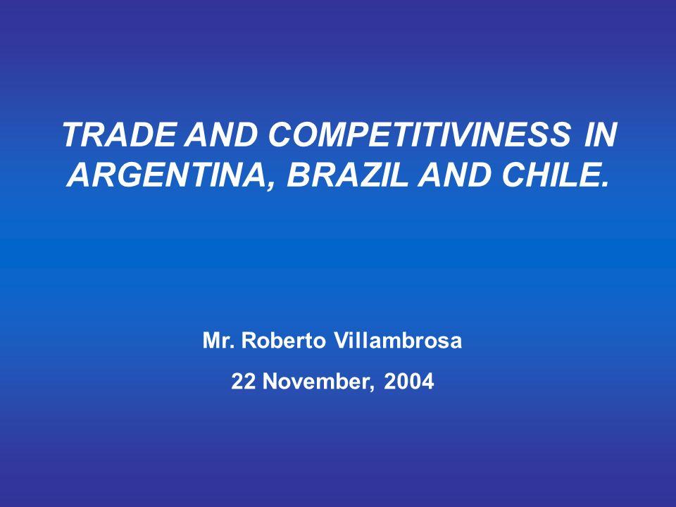TRADE AND COMPETITIVINESS IN ARGENTINA, BRAZIL AND CHILE. Mr. Roberto Villambrosa 22 November, 2004