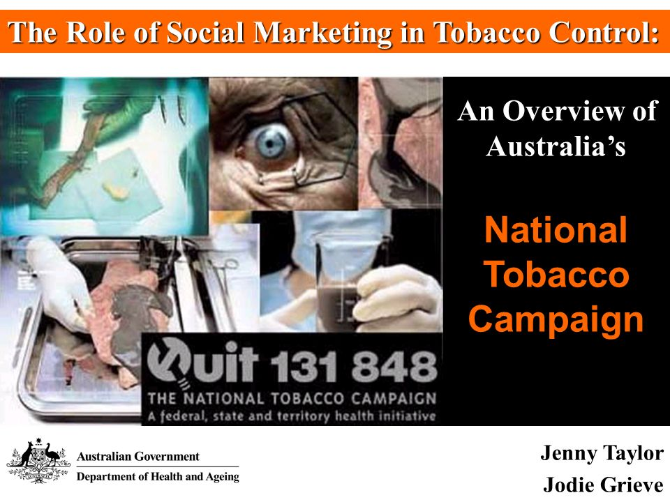 Introduction Role of Social Marketing Context of National Tobacco Strategy Background to the National Tobacco Campaign Campaign Strategy, Implementation & Evaluation International Use of the Campaign