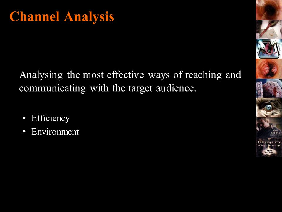 Channel Analysis Analysing the most effective ways of reaching and communicating with the target audience. Efficiency Environment