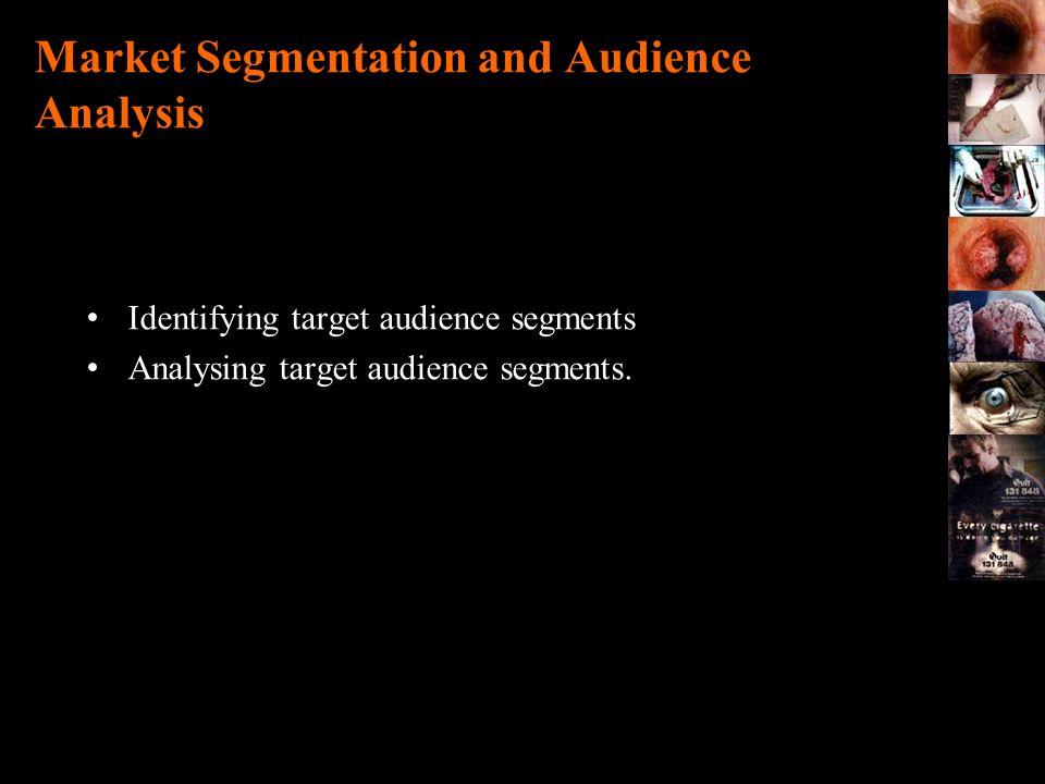 Market Segmentation and Audience Analysis Identifying target audience segments Analysing target audience segments.