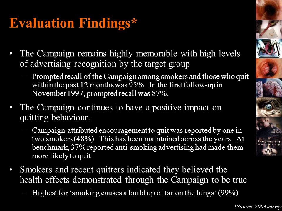 Evaluation Findings* The Campaign remains highly memorable with high levels of advertising recognition by the target group –Prompted recall of the Cam