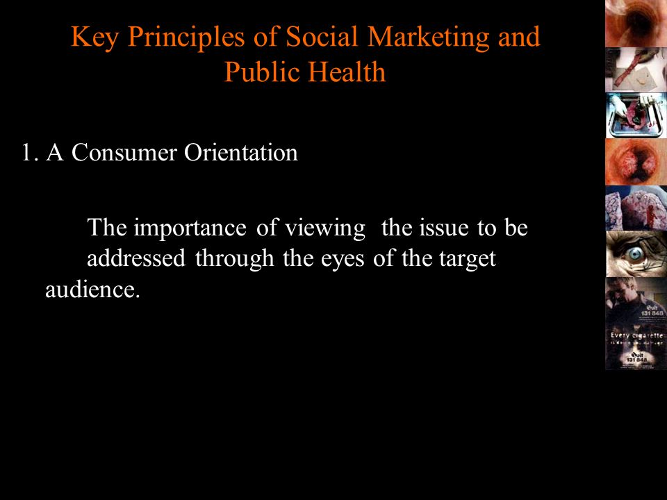 Key Principles of Social Marketing and Public Health 1. A Consumer Orientation The importance of viewing the issue to be addressed through the eyes of