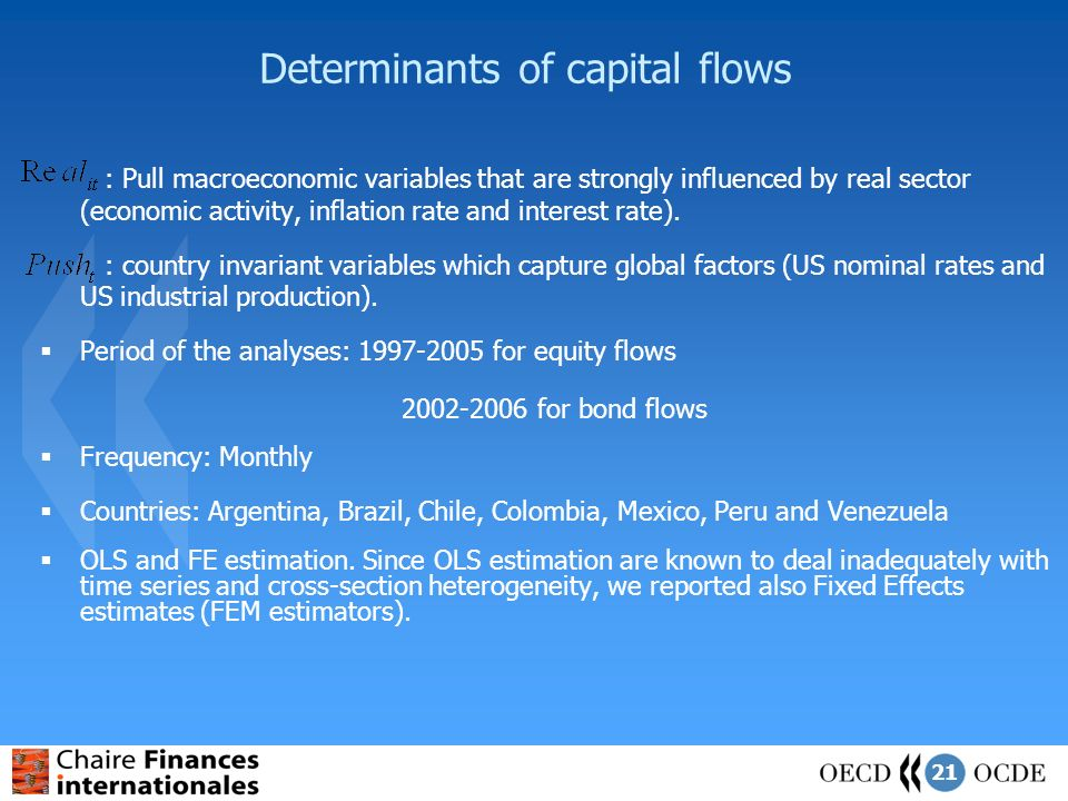 21 Determinants of capital flows : Pull macroeconomic variables that are strongly influenced by real sector (economic activity, inflation rate and interest rate).