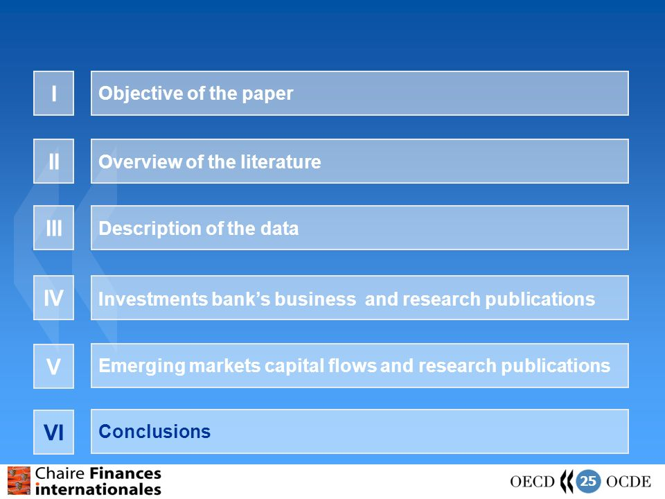 25 Objective of the paper I Overview of the literature II Description of the data III Investments banks business and research publications IV Emerging