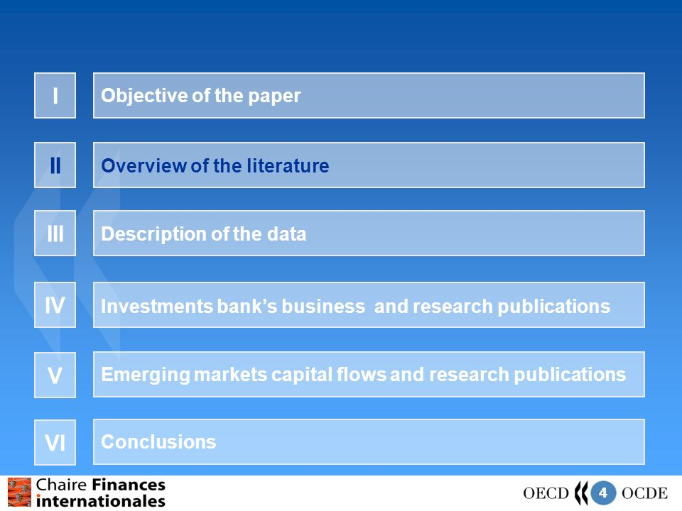 4 Objective of the paper I Overview of the literature II Description of the data III Investments banks business and research publications IV Emerging markets capital flows and research publications V Conclusions VI
