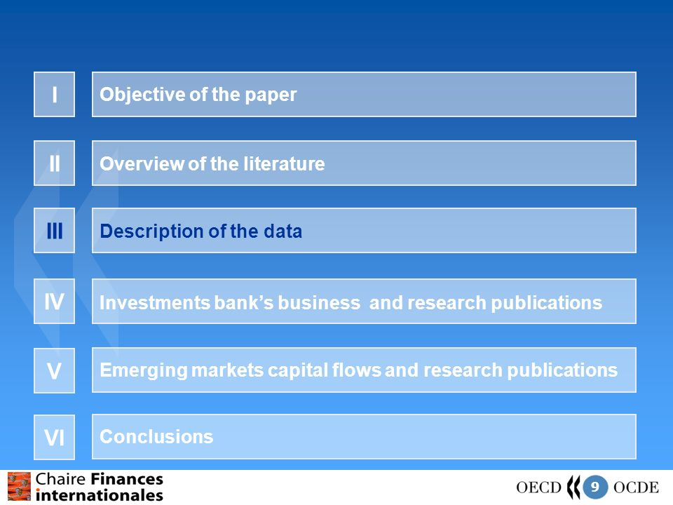 9 Objective of the paper I Overview of the literature II Description of the data III Investments banks business and research publications IV Emerging markets capital flows and research publications V Conclusions VI