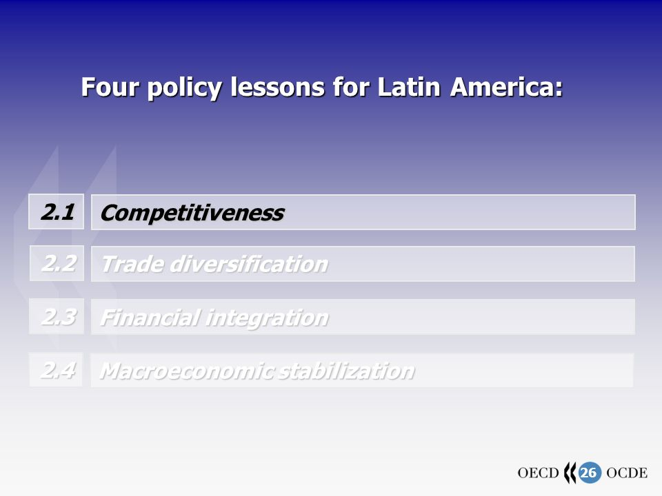 26 Four policy lessons for Latin America: 2.1 Competitiveness Trade diversification 2.2 Financial integration 2.3 Macroeconomic stabilization 2.4