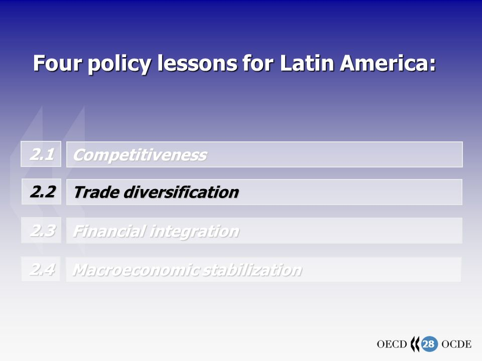 28 Four policy lessons for Latin America: 2.1 Competitiveness Trade diversification 2.2 Financial integration 2.3 Macroeconomic stabilization 2.4