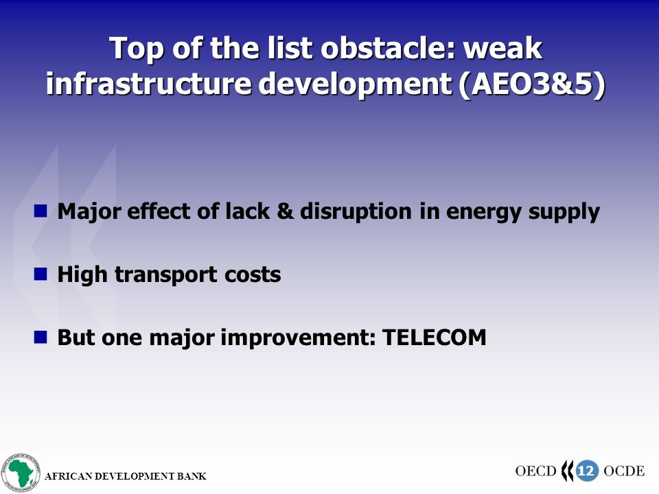 12 AFRICAN DEVELOPMENT BANK Top of the list obstacle: weak infrastructure development (AEO3&5) Major effect of lack & disruption in energy supply High transport costs But one major improvement: TELECOM