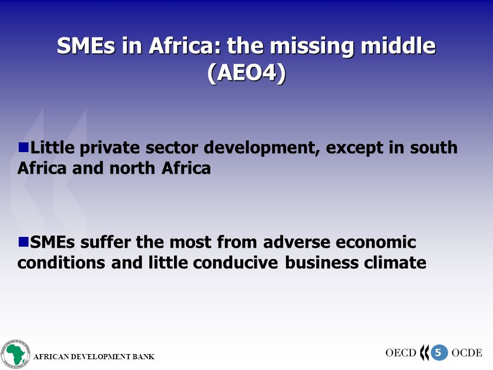 5 AFRICAN DEVELOPMENT BANK SMEs in Africa: the missing middle (AEO4) Little private sector development, except in south Africa and north Africa SMEs suffer the most from adverse economic conditions and little conducive business climate