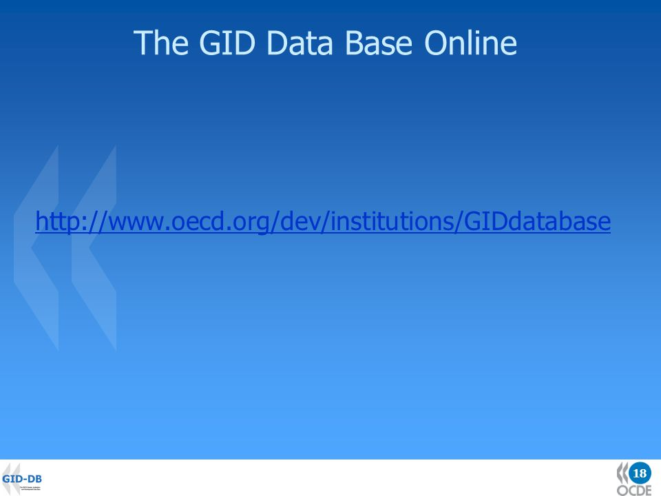 18 The GID Data Base Online http://www.oecd.org/dev/institutions/GIDdatabase