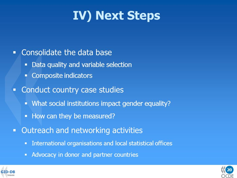 20 IV) Next Steps Consolidate the data base Data quality and variable selection Composite indicators Conduct country case studies What social institutions impact gender equality.