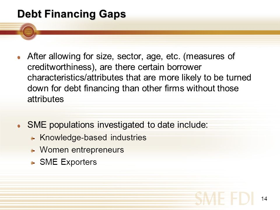 14 Debt Financing Gaps After allowing for size, sector, age, etc. (measures of creditworthiness), are there certain borrower characteristics/attribute