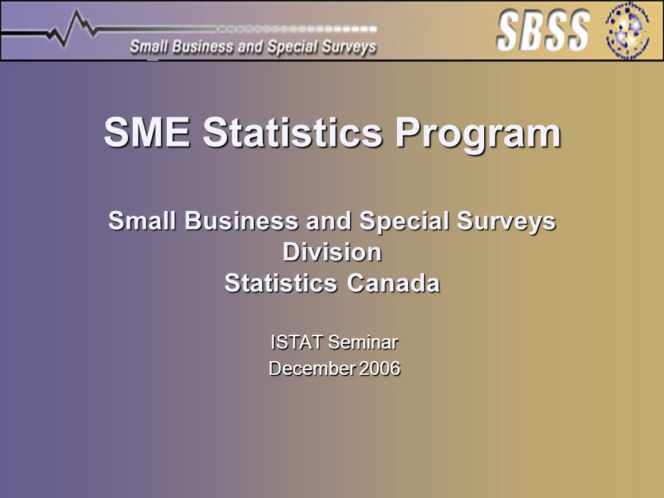SME Statistics Program Small Business and Special Surveys Division Statistics Canada ISTAT Seminar December 2006