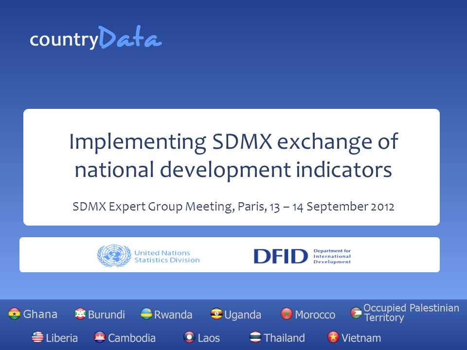 Implementing SDMX exchange of national development indicators SDMX Expert Group Meeting, Paris, 13 – 14 September 2012