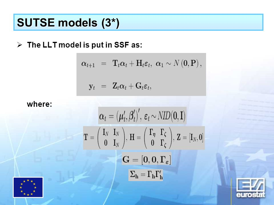Conclusions The SUTSE approach does not impose any particular structure on the data: one starts from the LLT model and let the system itself impose the restrictions.