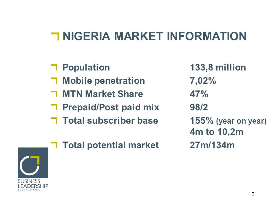 12 NIGERIA MARKET INFORMATION Population 133,8 million Mobile penetration 7,02% MTN Market Share47% Prepaid/Post paid mix98/2 Total subscriber base155% (year on year) 4m to 10,2m Total potential market 27m/134m