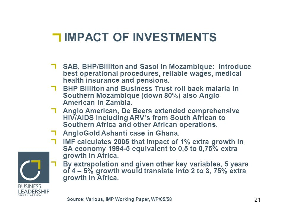 21 IMPACT OF INVESTMENTS SAB, BHP/Billiton and Sasol in Mozambique: introduce best operational procedures, reliable wages, medical health insurance and pensions.