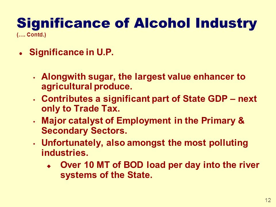 12 Significance of Alcohol Industry (…. Contd.) l Significance in U.P. w Alongwith sugar, the largest value enhancer to agricultural produce. w Contri