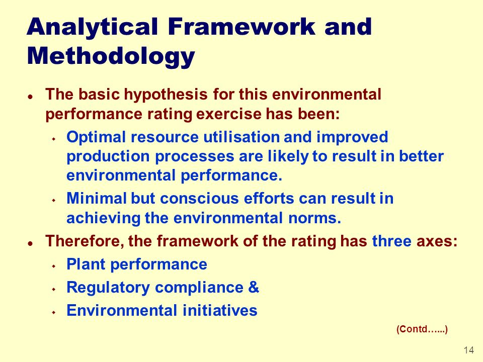 14 Analytical Framework and Methodology l The basic hypothesis for this environmental performance rating exercise has been: w Optimal resource utilisa