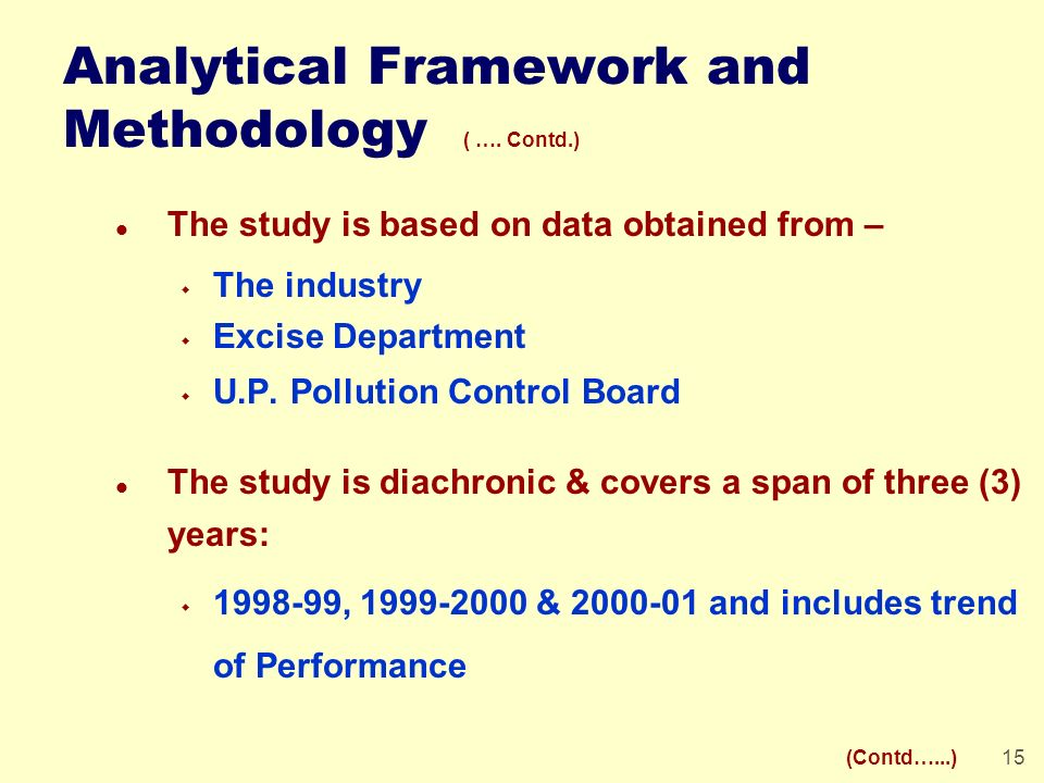 15 Analytical Framework and Methodology ( …. Contd.) l The study is based on data obtained from – w The industry w Excise Department w U.P. Pollution