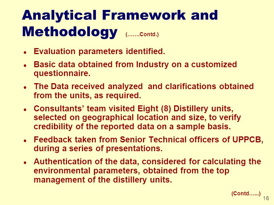 16 Analytical Framework and Methodology (…….Contd.) l Evaluation parameters identified. l Basic data obtained from Industry on a customized questionna