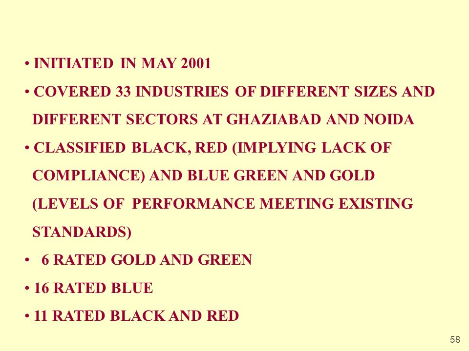 58 INITIATED IN MAY 2001 COVERED 33 INDUSTRIES OF DIFFERENT SIZES AND DIFFERENT SECTORS AT GHAZIABAD AND NOIDA CLASSIFIED BLACK, RED (IMPLYING LACK OF COMPLIANCE) AND BLUE GREEN AND GOLD (LEVELS OF PERFORMANCE MEETING EXISTING STANDARDS) 6 RATED GOLD AND GREEN 16 RATED BLUE 11 RATED BLACK AND RED
