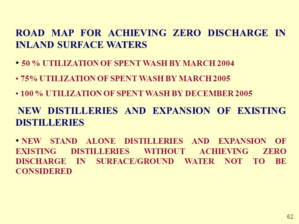 62 ROAD MAP FOR ACHIEVING ZERO DISCHARGE IN INLAND SURFACE WATERS 50 % UTILIZATION OF SPENT WASH BY MARCH 2004 75% UTILIZATION OF SPENT WASH BY MARCH 2005 100 % UTILIZATION OF SPENT WASH BY DECEMBER 2005 NEW DISTILLERIES AND EXPANSION OF EXISTING DISTILLERIES NEW STAND ALONE DISTILLERIES AND EXPANSION OF EXISTING DISTILLERIES WITHOUT ACHIEVING ZERO DISCHARGE IN SURFACE/GROUND WATER NOT TO BE CONSIDERED