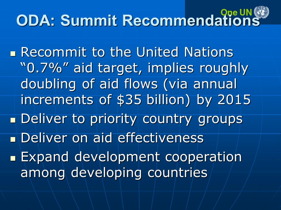 ODA: Summit Recommendations Recommit to the United Nations 0.7% aid target, implies roughly doubling of aid flows (via annual increments of $35 billion) by 2015 Recommit to the United Nations 0.7% aid target, implies roughly doubling of aid flows (via annual increments of $35 billion) by 2015 Deliver to priority country groups Deliver to priority country groups Deliver on aid effectiveness Deliver on aid effectiveness Expand development cooperation among developing countries Expand development cooperation among developing countries