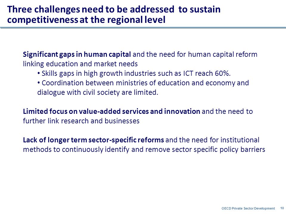 OECD Private Sector Development 10 Three challenges need to be addressed to sustain competitiveness at the regional level Significant gaps in human capital and the need for human capital reform linking education and market needs Skills gaps in high growth industries such as ICT reach 60%.